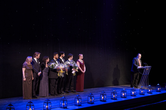 Ensemble Studio Competition finalists and winners with Centre Stage host Ben Heppner