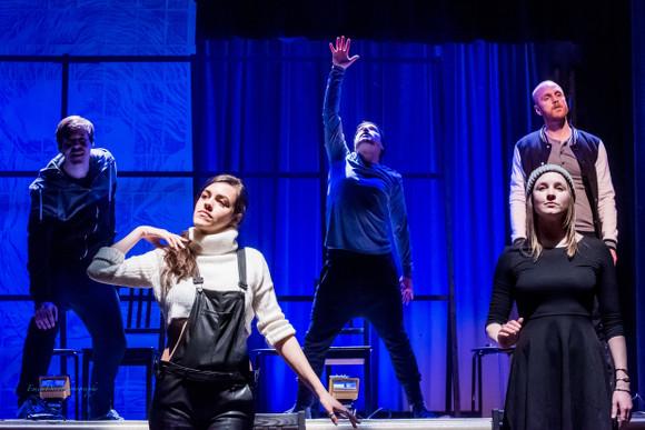 Storybook L-R: Christopher Mayell, Geoffrey Penar, Geoff Sirett (rear), Emma Parkinson, Leigh-Ann Allen (front)
