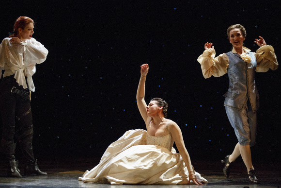 Mireille Lebel (Orpheus), Peggy Kriha Dye (Eurydice) and Meghan Lindsay (Amour). Photo by Bruce Zinger.