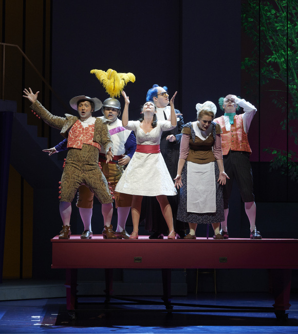 2537 – (l-r) Clarence Frazer as Figaro, Andrew Haji as Count Almaviva, Charlotte Burrage as Rosina, Gordon Bintner as Don Basilio, Karine Boucher as Berta and Iain MacNeil as Doctor Bartolo in the Ensemble Studio performance of the Canadian Opera Company's production of The Barber of Seville, 2015. Conductor Rory Macdonald, director Joan Font, set and costume designer Joan Guillén, choreographer Xevi Dorca and lighting designer Albert Faura. Photo: Michael Cooper Michael Cooper Photographic Office- 416-466-4474 Mobile- 416-938-7558 66 Coleridge Ave. Toronto, ON M4C 4H5