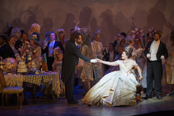 0097 – (in foreground) Roberto Gleadow as Dr. Grenvil and Ekaterina Siurina as Violetta in the COC's production of La Traviata, 2015. Conductor Marco Guidarini, director Arin Arbus, set designer Riccardo Hernandez, costume designer Cait O'Connor, and lighting designer Marcus Doshi. Photo: Michael Cooper Michael Cooper Photographic Office- 416-466-4474 Mobile- 416-938-7558 66 Coleridge Ave. Toronto, ON M4C 4H5