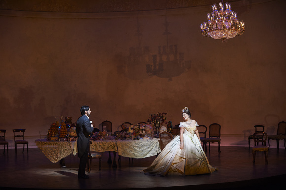 0216 – Charles Castronovo as Alfredo and Ekaterina Siurina as Violetta in the COC's production of La Traviata, 2015. Conductor Marco Guidarini, director Arin Arbus, set designer Riccardo Hernandez, costume designer Cait O'Connor, and lighting designer Marcus Doshi. Photo: Michael Cooper Michael Cooper Photographic Office- 416-466-4474 Mobile- 416-938-7558 66 Coleridge Ave. Toronto, ON M4C 4H5
