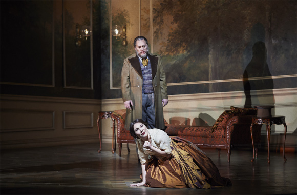 0406 – Quinn Kelsey as Germont and Ekaterina Siurina as Violetta in the COC's production of La Traviata, 2015. Conductor Marco Guidarini, director Arin Arbus, set designer Riccardo Hernandez, costume designer Cait O'Connor, and lighting designer Marcus Doshi. Photo: Michael Cooper Michael Cooper Photographic Office- 416-466-4474 Mobile- 416-938-7558 66 Coleridge Ave. Toronto, ON M4C 4H5